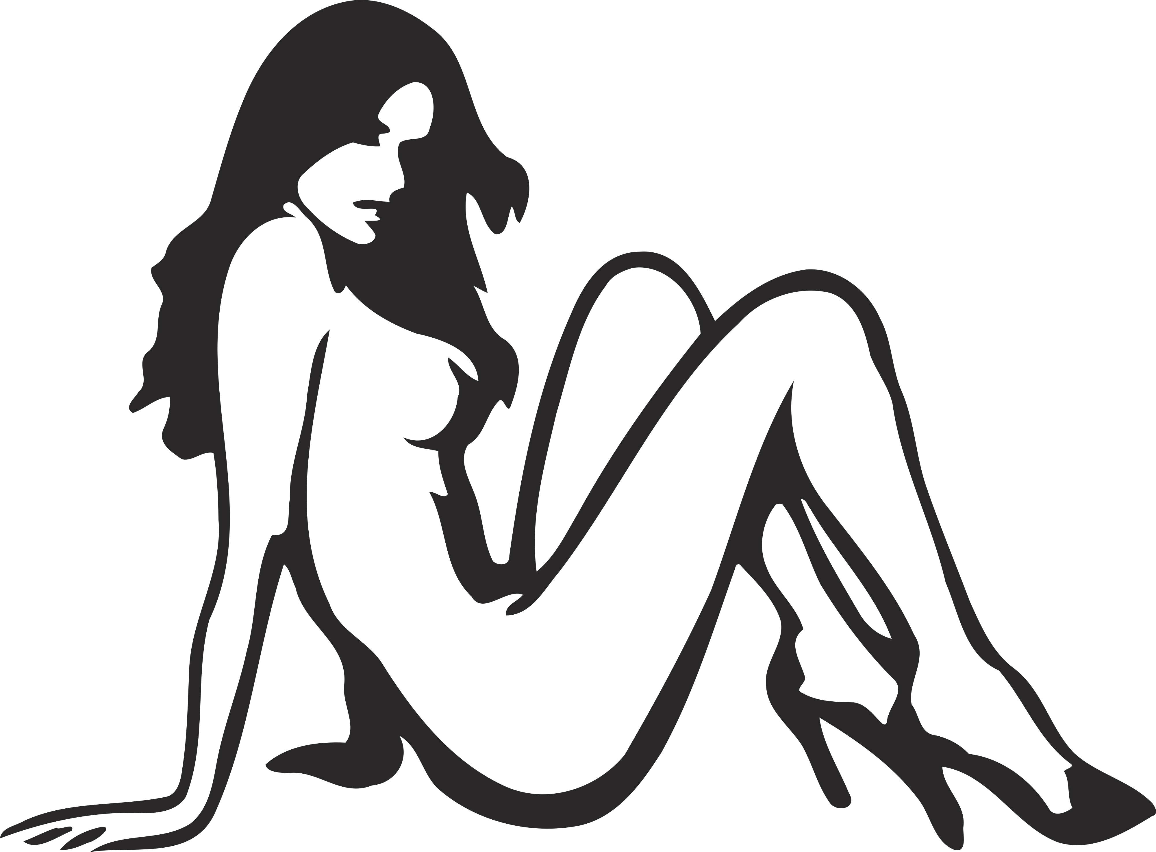 Tattoo Of A Woman's Silhouette On The Right Upper Arm